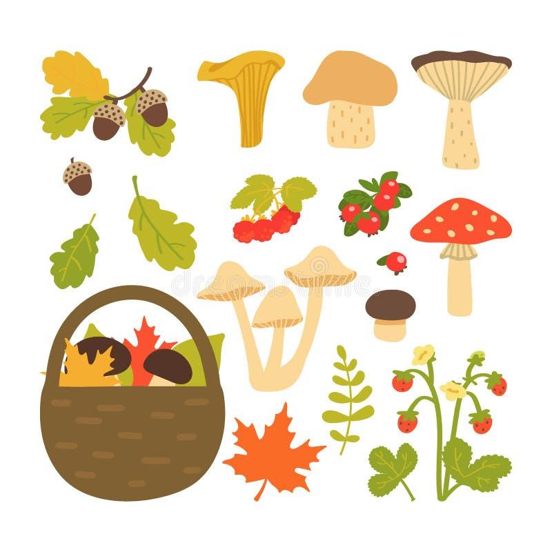Metta delle foglie, dei funghi e delle bacche di autunno isolati su fondo bianco Illustrazione di vettore nello stile del fumetto illustrazione di stock