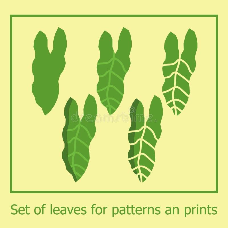 Metta delle foglie della giungla per i modelli e le stampe Foglie esotiche tropicali di verde di vettore con effetto tagliato di  illustrazione vettoriale