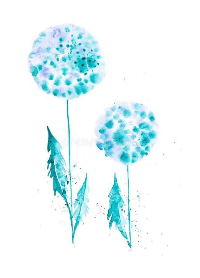 Metta delle foglie e dei fiori del dente di leone fra le gocce astratte Illustrazioni dell'acquerello isolate su fondo bianco illustrazione vettoriale