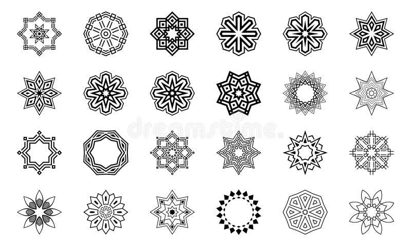 Metta delle forme concentrare simmetriche geometriche astratte Elementi di progettazione, ornamenti Illustrazione di monocromio d illustrazione vettoriale