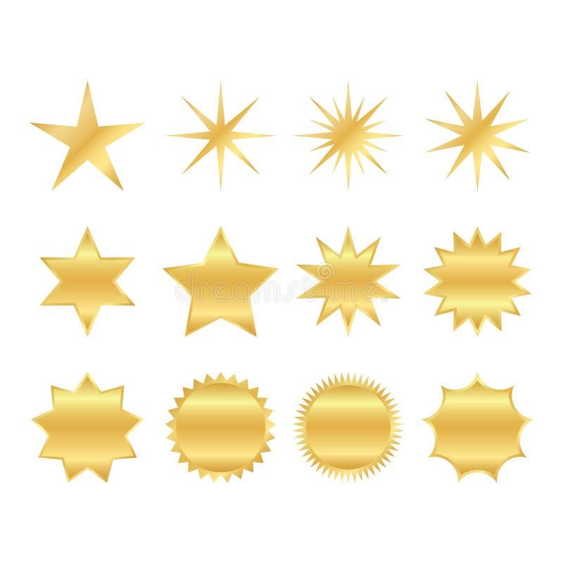 Metta delle forme d'avanguardia di retro stelle Elementi di progettazione dello sprazzo di sole Il raggio dorato e brillante dei  illustrazione vettoriale