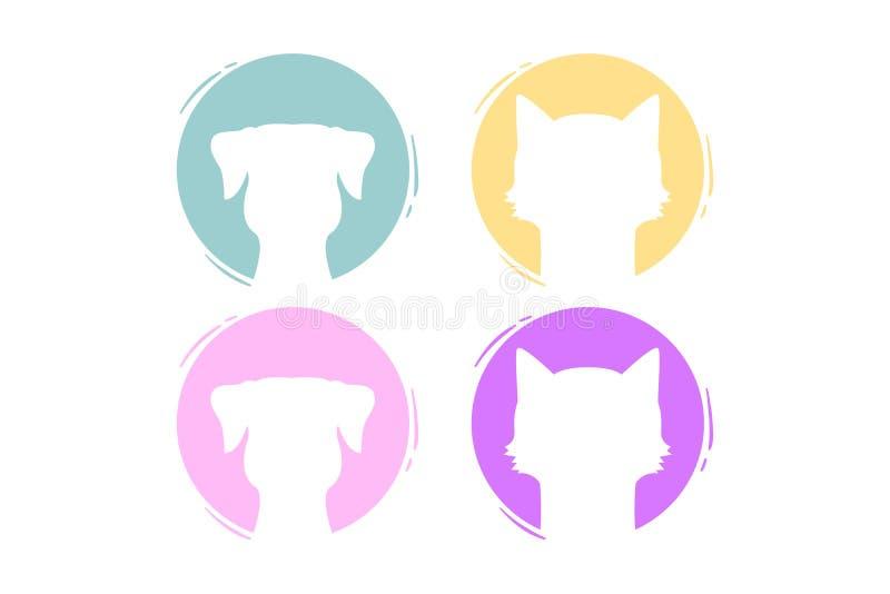 Metta delle forme rotonde con gli animali domestici nei colori pastelli Cerchi isolati con le siluette degli animali domestici de illustrazione vettoriale