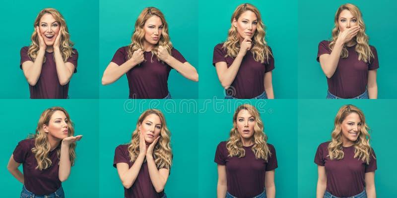 Metta delle foto di una ragazza attraente con differenti emozioni ed azioni su un fondo blu fotografia stock