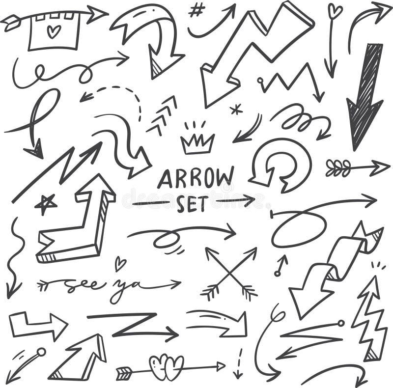 Metta delle frecce disegnate a mano scarabocchiano illustrazione di stock