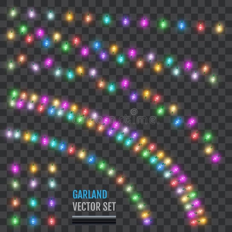 Metta delle ghirlande di festa con le lampade colorate Ghirlanda classica di Natale Le lampade del nuovo anno nel retro stile Vet illustrazione di stock