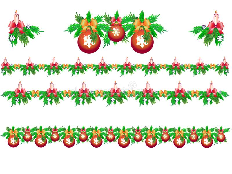 Metta delle ghirlande di Natale di abete con le candele, i fiocchi di neve e le palle di Natale illustrazione vettoriale