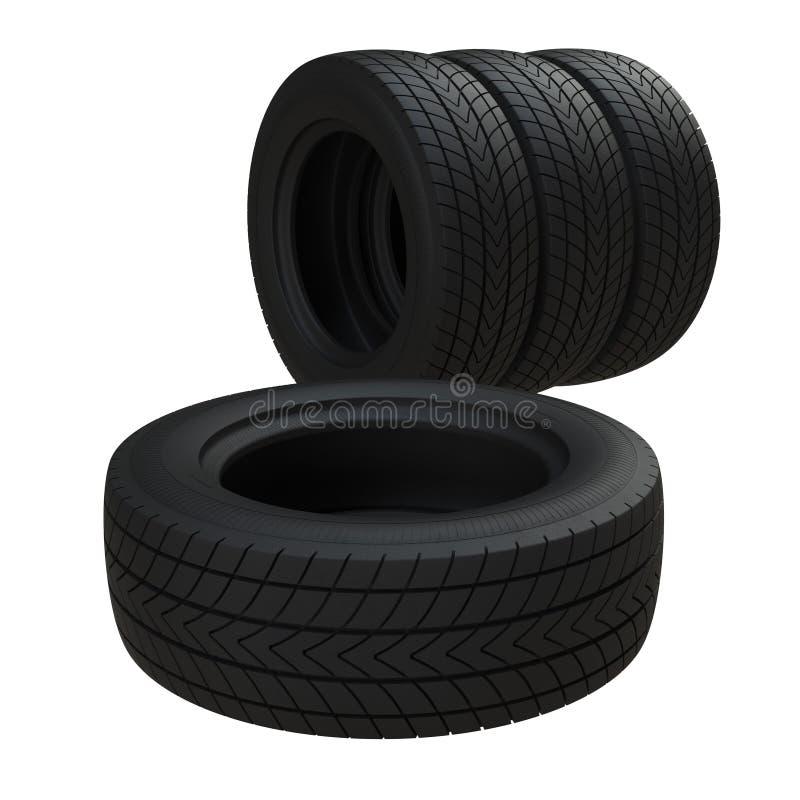 Metta delle gomme di automobile isolate su fondo bianco illustrazione 3D illustrazione di stock