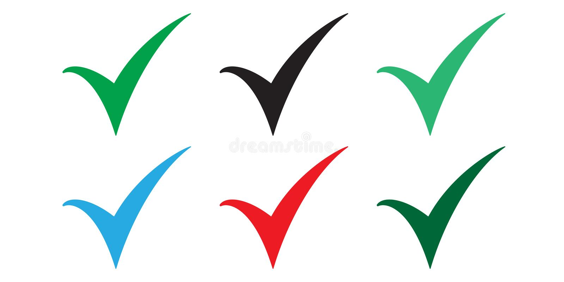 Metta delle icone colorate del segno di spunta Segno di spunta, illustrazione di vettore dell'icona del segno di spunta royalty illustrazione gratis