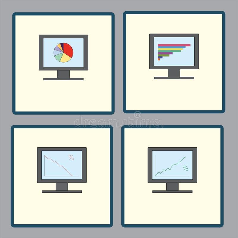 Metta delle icone con i monitor del computer con i grafici analitici dei grafici per il rapporto, segnalazione di affari illustrazione di stock