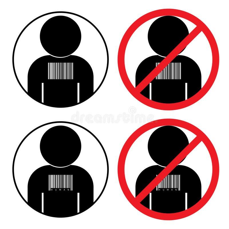 Metta delle icone contro il traffico umano di schiavitù illustrazione di stock