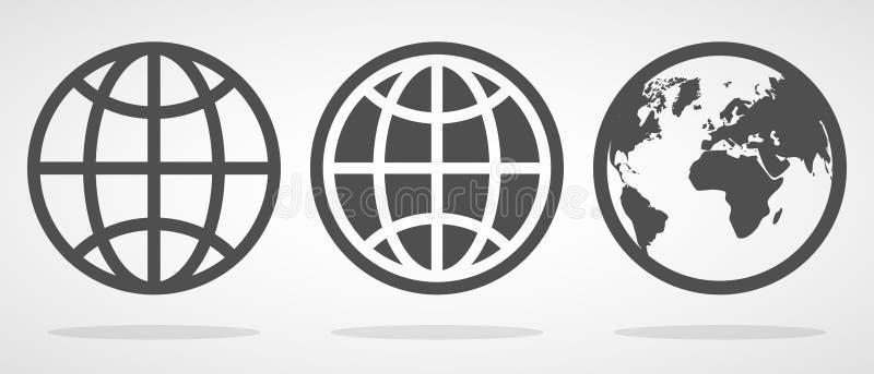 Metta delle icone del globo nello stile piano Illustrazione di vettore illustrazione vettoriale