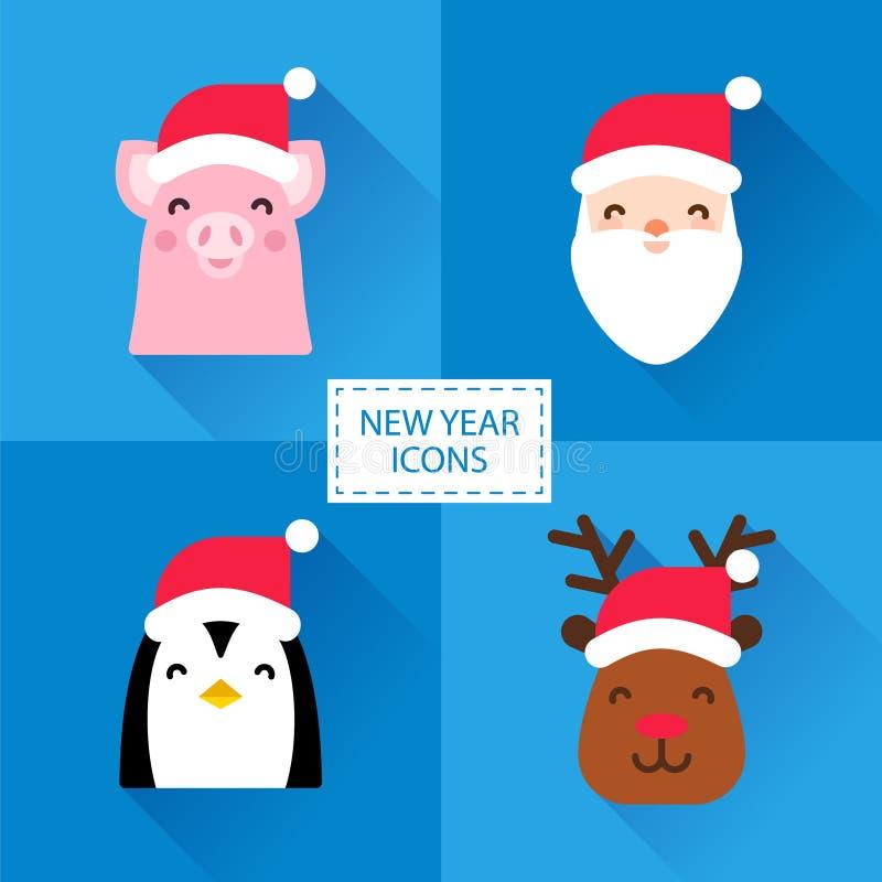 Metta delle icone del nuovo anno con i caratteri svegli: maiale, Santa, pinguino e cervi Progettazione piana Illustrazione di vet illustrazione vettoriale