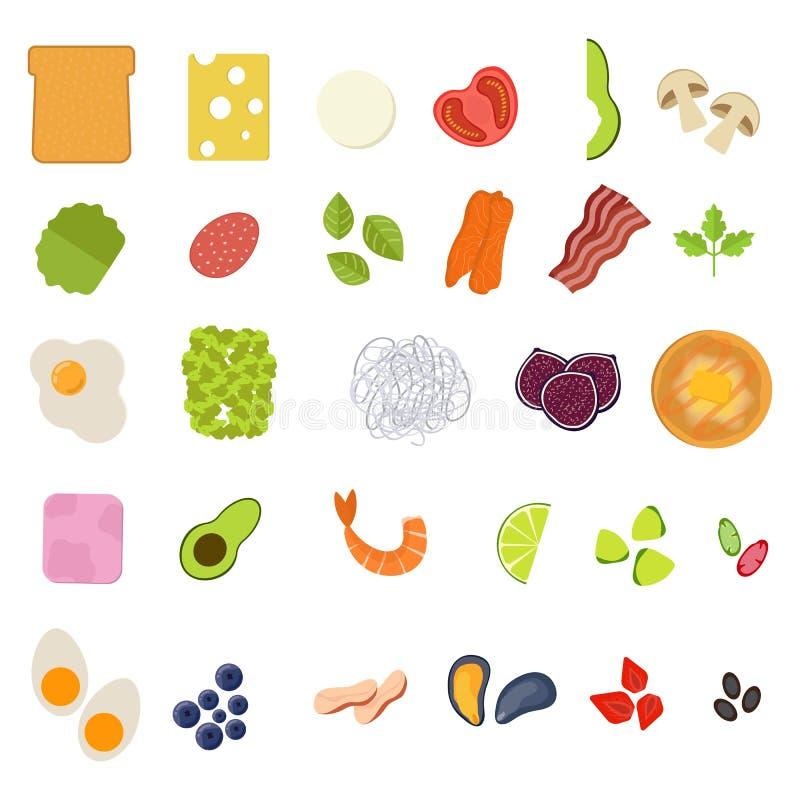 Metta delle icone dell'alimento nello stile piano Icona del pasto Illustrazione di vettore illustrazione vettoriale