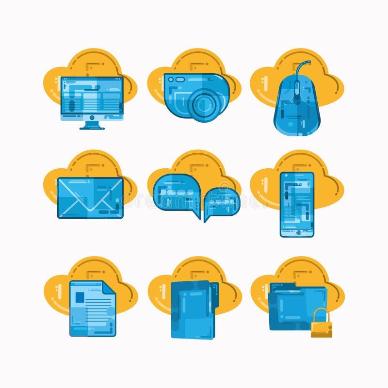 Metta delle icone dell'elemento del computer con progettazione di struttura royalty illustrazione gratis