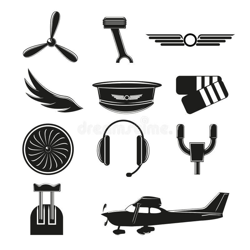 Metta delle icone di aviazione Piccoli simboli ed elementi di aviazione illustrazione vettoriale