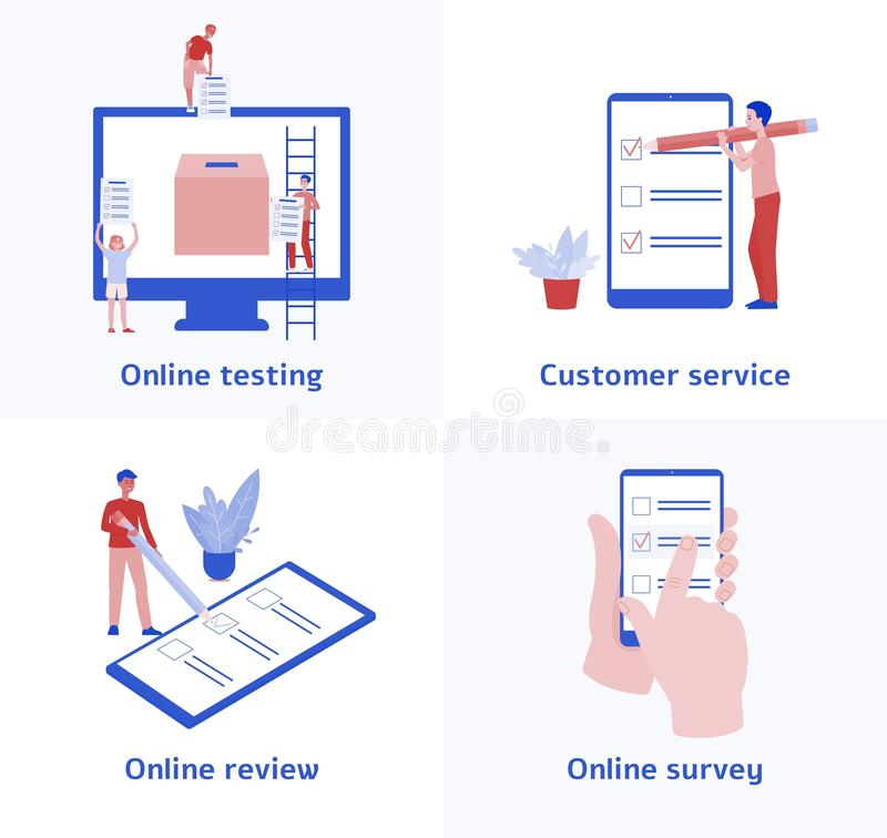 Metta delle icone di indagine e di prova online, del servizio di assistenza al cliente e della riunione di risposte facendo uso d illustrazione vettoriale