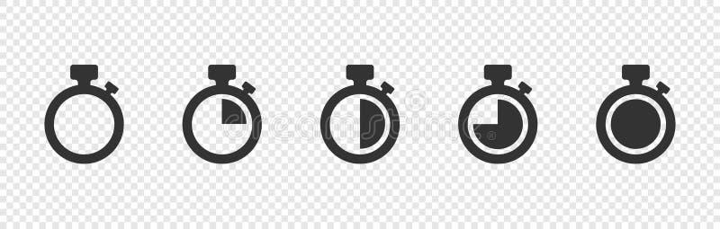 Metta delle icone di vettore del temporizzatore su fondo trasparente Icone di vettore del temporizzatore di conto alla rovescia illustrazione di stock