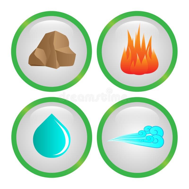 Metta delle icone di vettore di quattro elementi illustrazione di stock