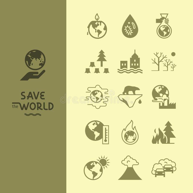 Metta delle icone di vettore sul tema di riscaldamento globale del nostro pianeta complessivamente illustrazione vettoriale