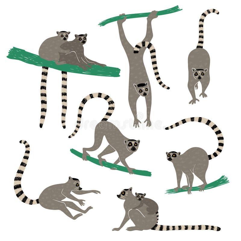 Metta delle icone divertenti delle lemure illustrazione di stock