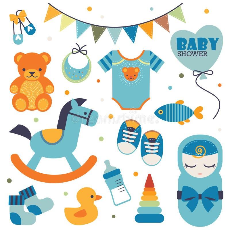 Metta delle icone dolci e belle per l'evento della doccia di bambino illustrazione di stock