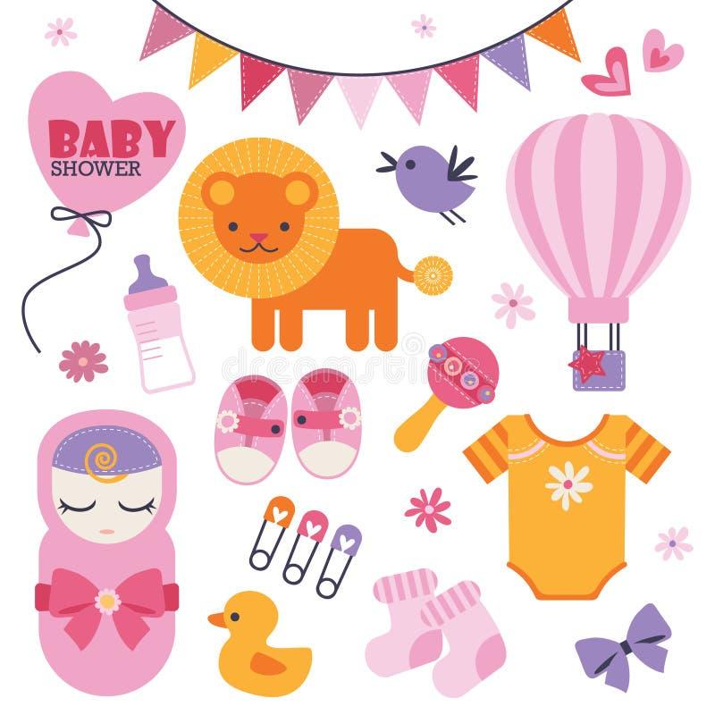 Metta delle icone dolci e belle per l'evento della doccia di bambino illustrazione vettoriale