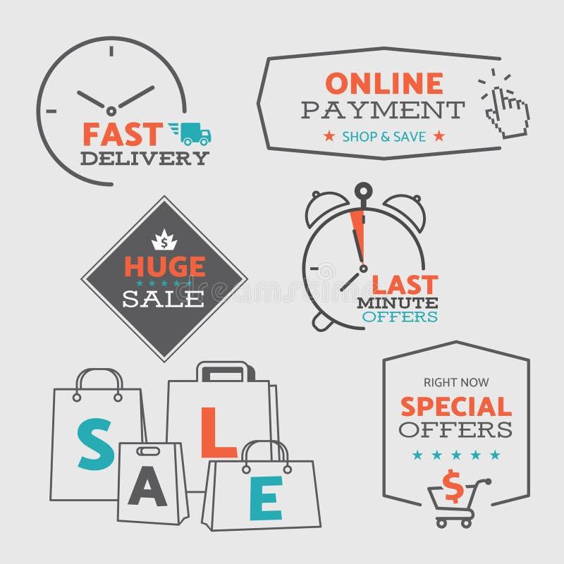 Metta 1 delle icone e dei distintivi piani di vendita di progettazione per il web e l'acquisto del cellulare - vector eps8 illustrazione di stock