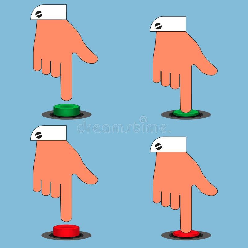 Metta delle icone ha colorato i bottoni con l'isolato della mano su fondo blu royalty illustrazione gratis