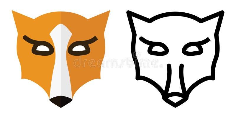 Metta delle icone - logos nell'illustrazione lineare e piana di vettore della testa di Fox di stile illustrazione vettoriale