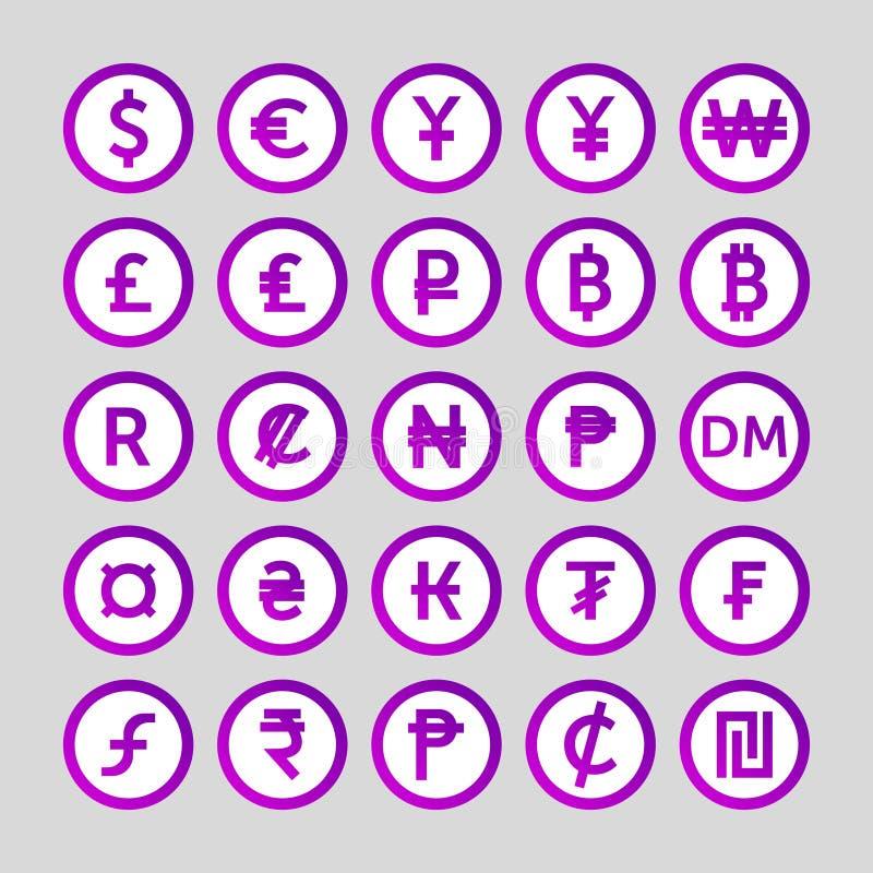 Metta delle icone per i paesi di simbolo di valuta nel mondo illustrazione vettoriale