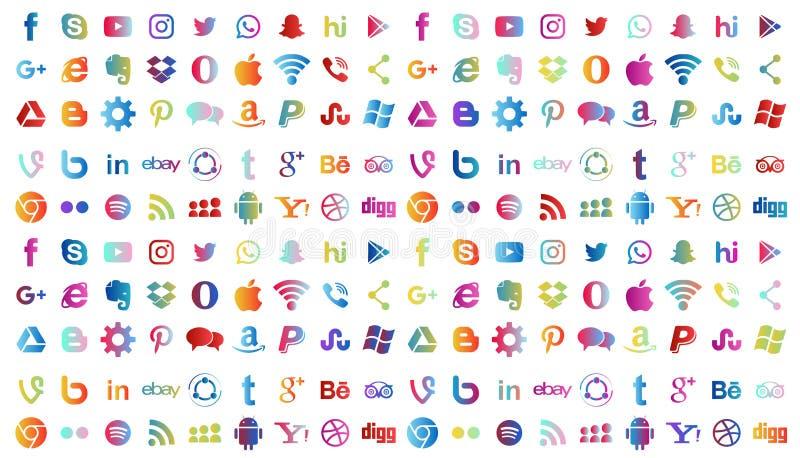 Metta delle icone sociali popolari del logos di media nei colori differenti Instagram Facebook Twitter Youtube WhatsApp LinkedIn  illustrazione di stock