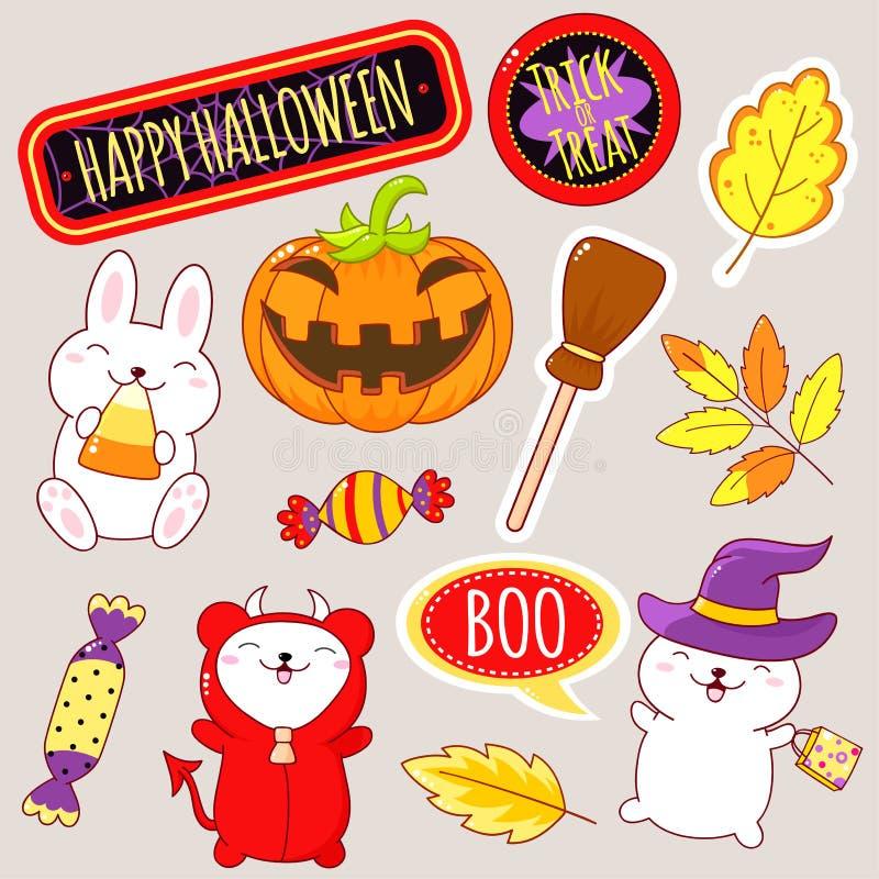 Metta delle icone sveglie di Halloween nello stile di kawaii royalty illustrazione gratis