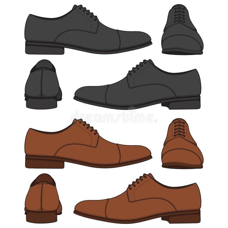 Metta delle illustrazioni colorate con le scarpe degli uomini classici Oggetti isolati di vettore royalty illustrazione gratis