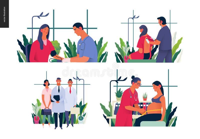 Metta delle illustrazioni di assicurazione-malattia royalty illustrazione gratis