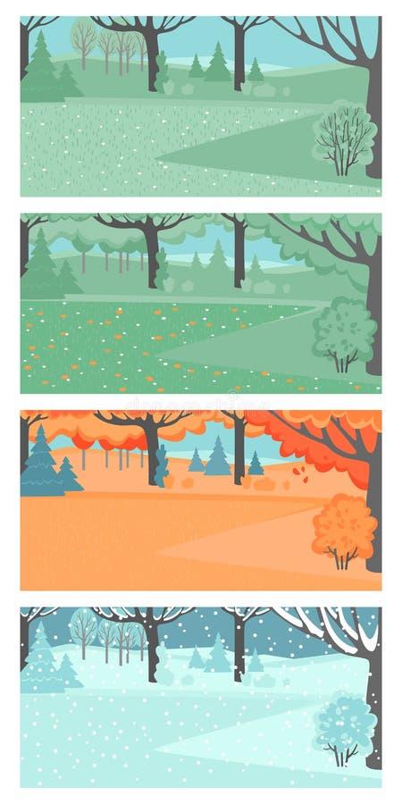 Metta delle illustrazioni di vettore dei paesaggi della primavera, dell'estate, di autunno e dell'inverno royalty illustrazione gratis