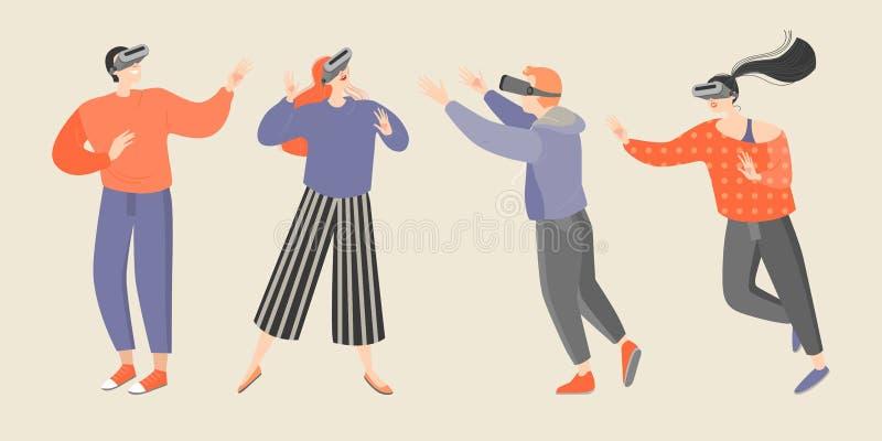 Metta delle illustrazioni di vettore dei vetri d'uso di realtà virtuale dei giovani illustrazione di stock