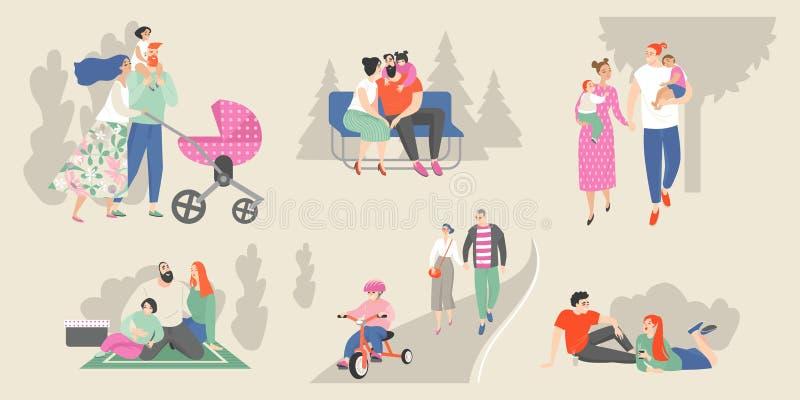 Metta delle illustrazioni di vettore delle famiglie con i bambini e le giovani coppie che si rilassano nel parco illustrazione vettoriale