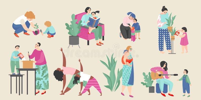 Metta delle illustrazioni di vettore sul tema di maternità con le mamme sveglie e loro i bambini che fanno le attività di ogni gi illustrazione di stock