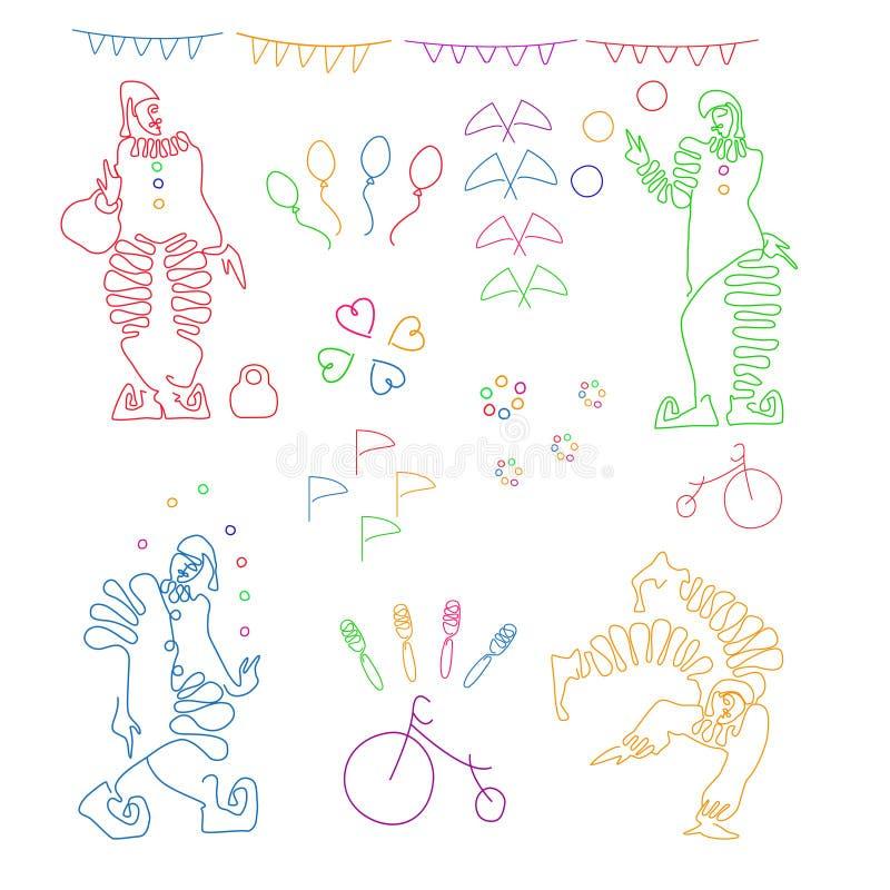 Metta delle illustrazioni lineari di colore di quattro pagliacci ed attributi del circo illustrazione di stock
