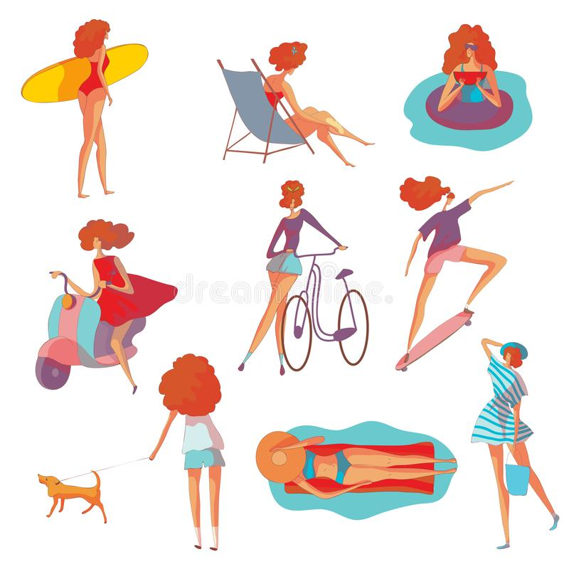 Metta delle immagini di una donna alla vacanza estiva Illustrazione di vettore su priorit? bassa bianca illustrazione vettoriale