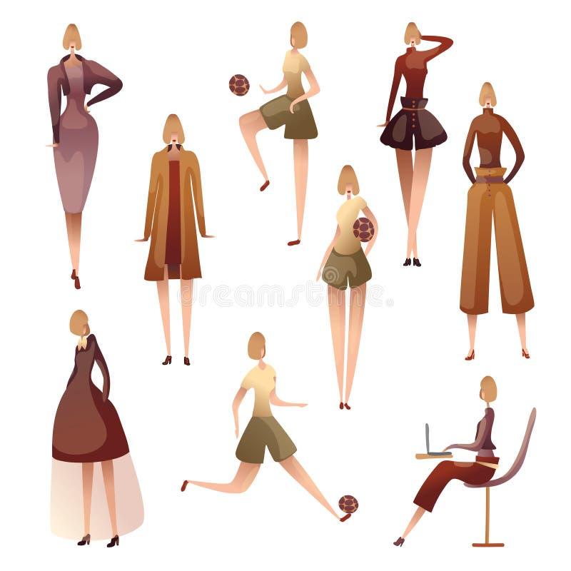 Metta delle immagini delle donne in varie pose Illustrazione di vettore su priorit? bassa bianca illustrazione di stock