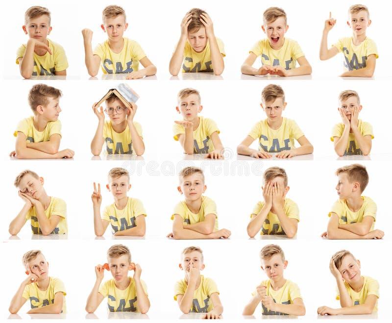 Metta delle immagini emozionali di un ragazzo dell'adolescente in una maglietta gialla, collage Primo piano, fondo bianco fotografia stock libera da diritti