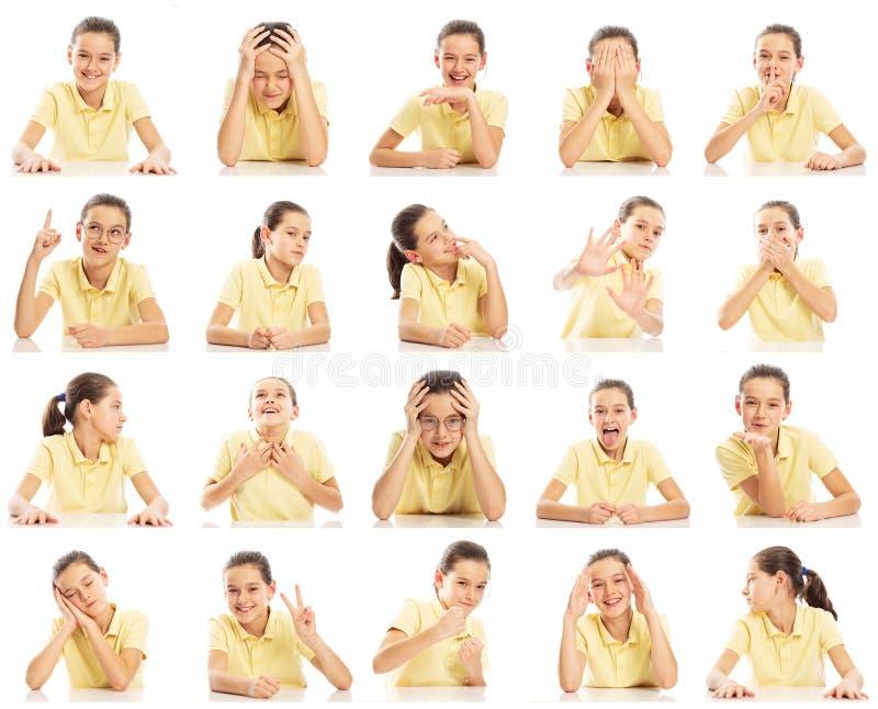 Metta delle immagini emozionali di una ragazza dell'adolescente in una maglietta gialla, collage Primo piano, fondo bianco fotografie stock