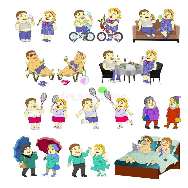 Metta delle immagini - un ragazzo e una ragazza grassi delle coppie nelle situazioni differenti illustrazione di stock
