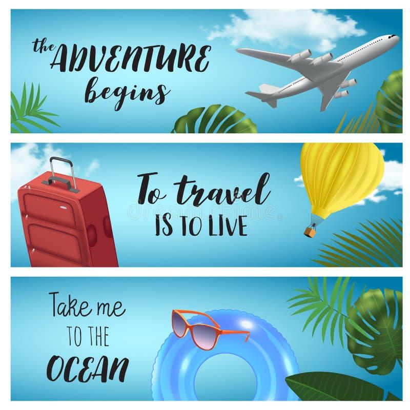 Metta delle insegne horisontal di viaggio dell'estate di vettore con impulso colorato, l'anello gonfiabile, l'aereo, la borsa, i  illustrazione di stock