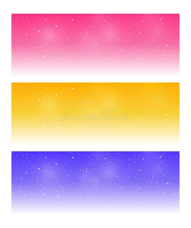 Metta delle insegne panoramiche orizzontali con le stelle brillanti per progettazione magica illustrazione vettoriale