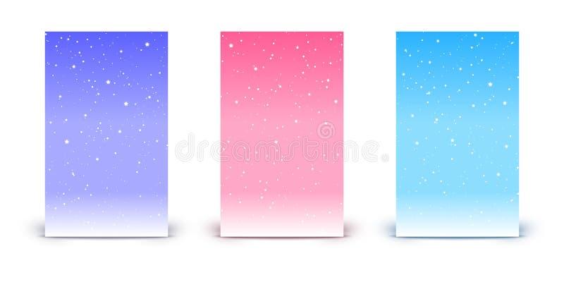 Metta delle insegne verticali con le stelle brillanti sugli ambiti di provenienza del cielo di colore illustrazione di stock