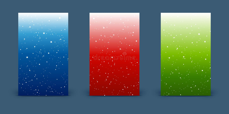 Metta delle insegne verticali con le stelle brillanti sugli ambiti di provenienza del cielo del colort illustrazione vettoriale