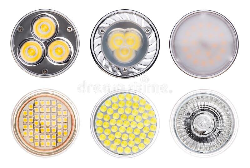 Metta delle lampade della luce del LED isolate su fondo bianco fotografie stock libere da diritti