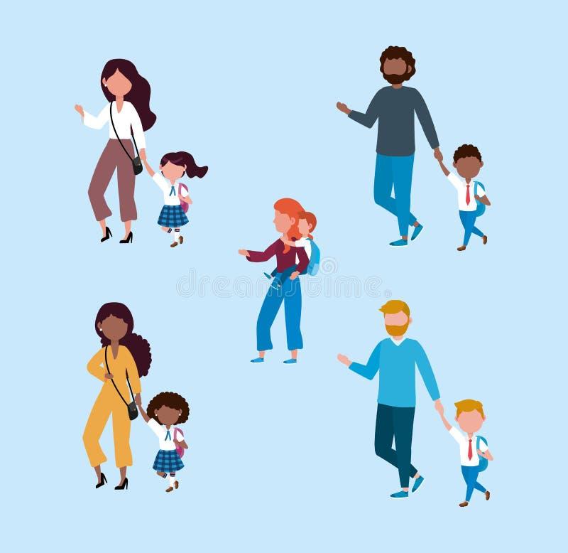 Metta delle madri e dei padri con i loro ragazzi e studentesse illustrazione vettoriale